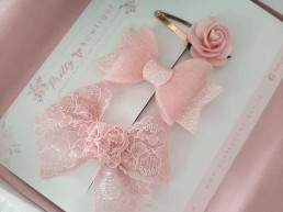 Pink hair clip set